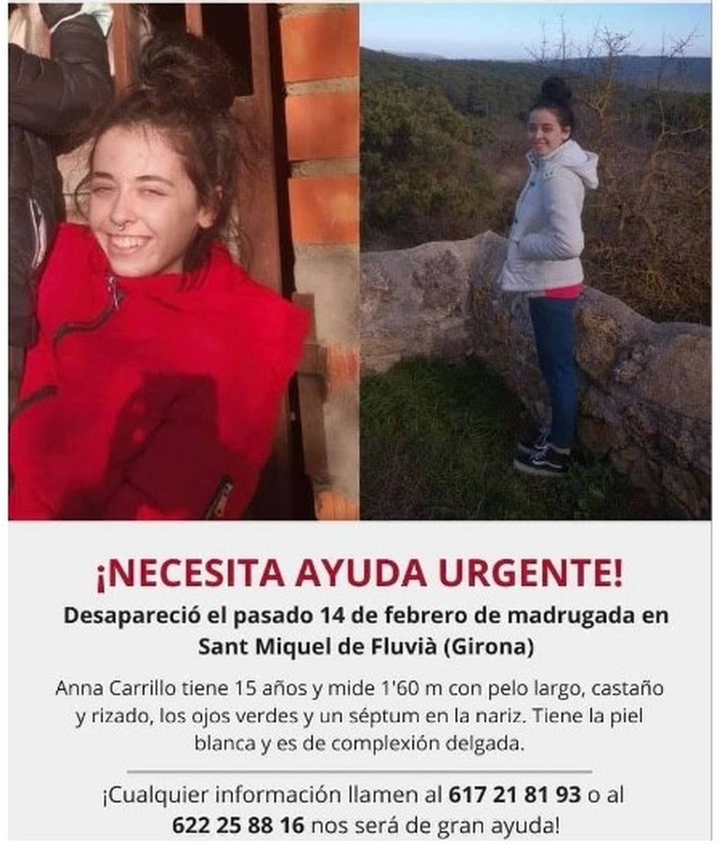 Buscan a Anna, una menor desaparecida en Sant Miquel de Fluvià