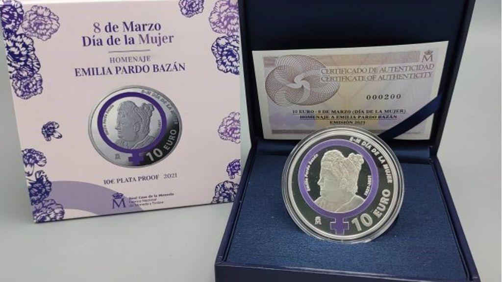 La Fábrica de Moneda y Timbre lanza una moneda conmemorativa en homenaje a Emilia Pardo Bazán por el 8-M