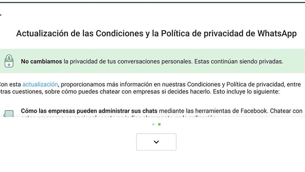 Actualizaciones condiciones de uso de WhatsApp