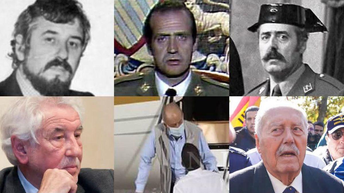 Protagonistas del 23-F, 40 años después: Juan Carlos I, Antonio Tejero o Manuel Núñez Encabo