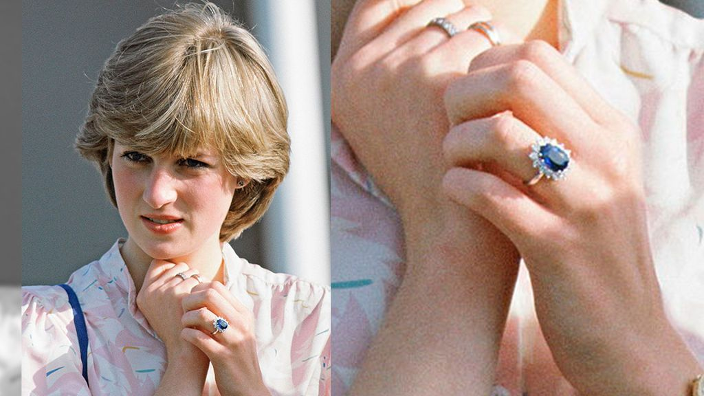 Lady Di luciendo su anillo de compromiso que ahora pertenece a Kate Middleton