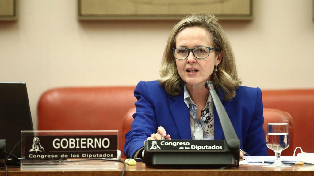 Nadia Calviño durante su comparecencia en la Comisión Mixta para la UEsobre el Plan de Recuperación, Transformación y Resiliencia económica