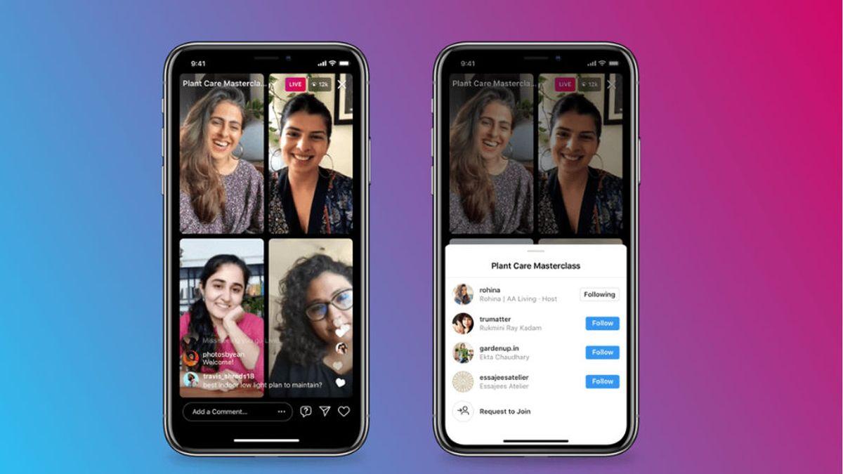 Instagram abre la puerta a Live Rooms, la función que permite a cuatro usuarios participar en un mismo directo