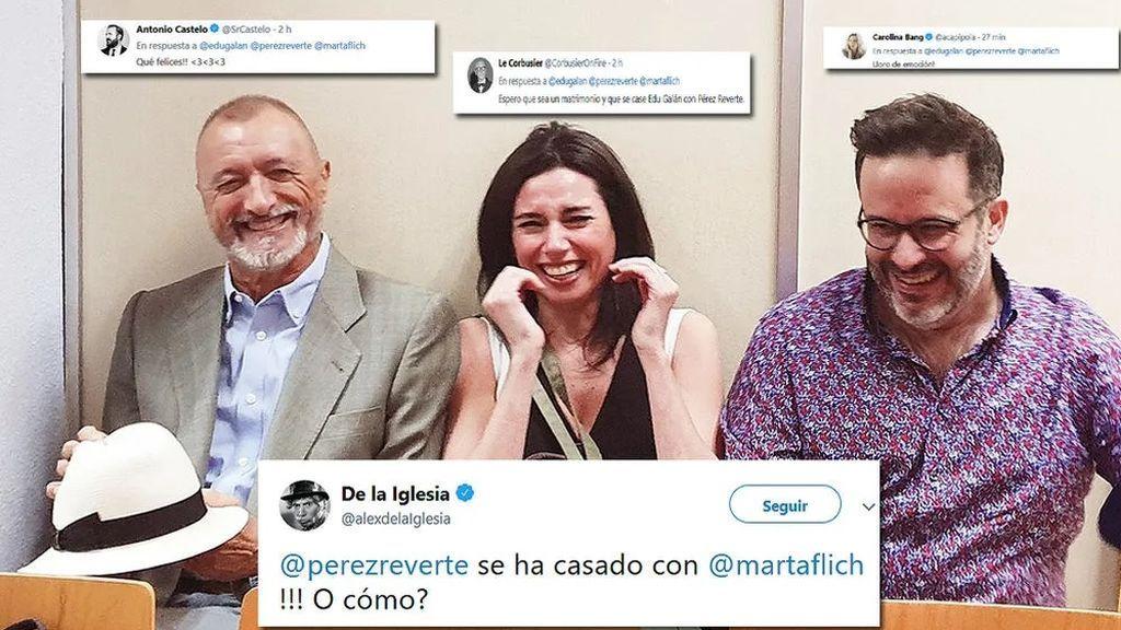 Arturo Pérez-Reverte, Marta Flich y Edu Galán, en el Registro Civil