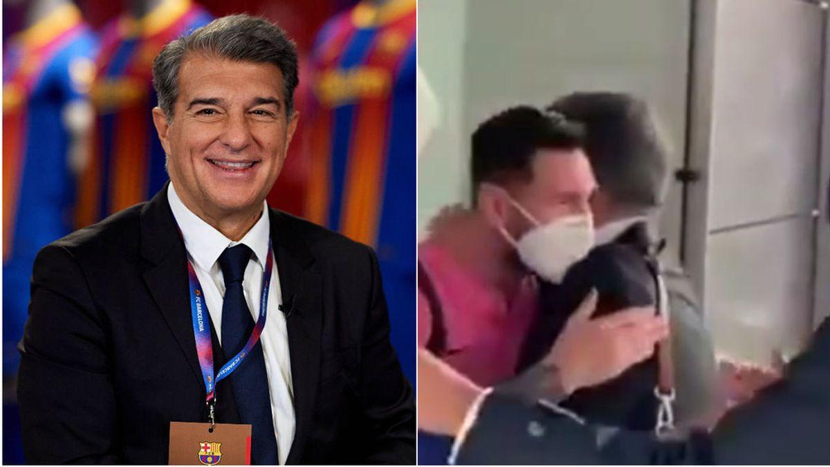 Laporta, uno más en la expedición de Barcelona con especial abrazo a Messi