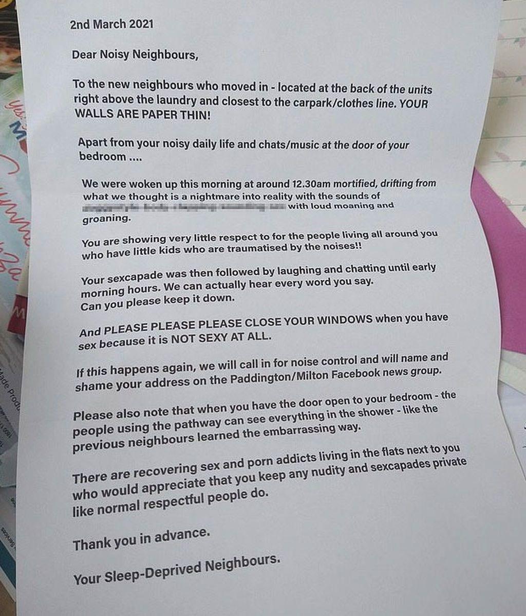 Carta de queja por ruidos sexuales Australia