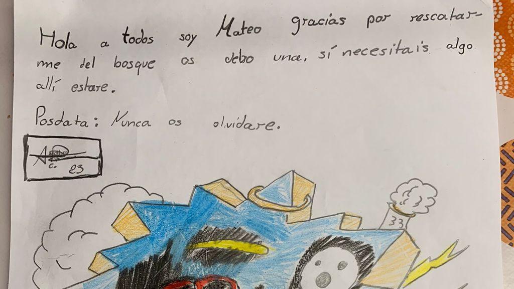 Dibujo realizado por el menor para los agentes que le rescataron