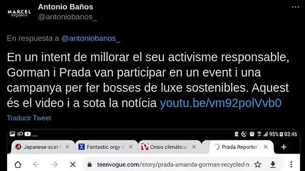 Antonio Baños tuitea un pantallazo de su ordenador con páginas abiertas de porno