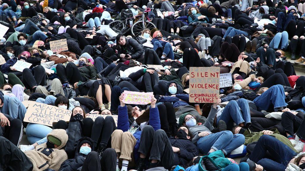 Manifestación en Londres contra la brutalidad policial en las protestas por Sarah Everard