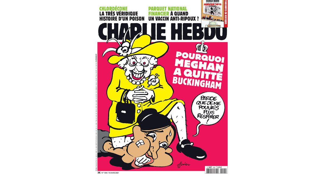 Charlie Hebdo dibuja a la reina Isabel II mientras aplasta la cabeza de Meghan Markle como si fuera George Floyd