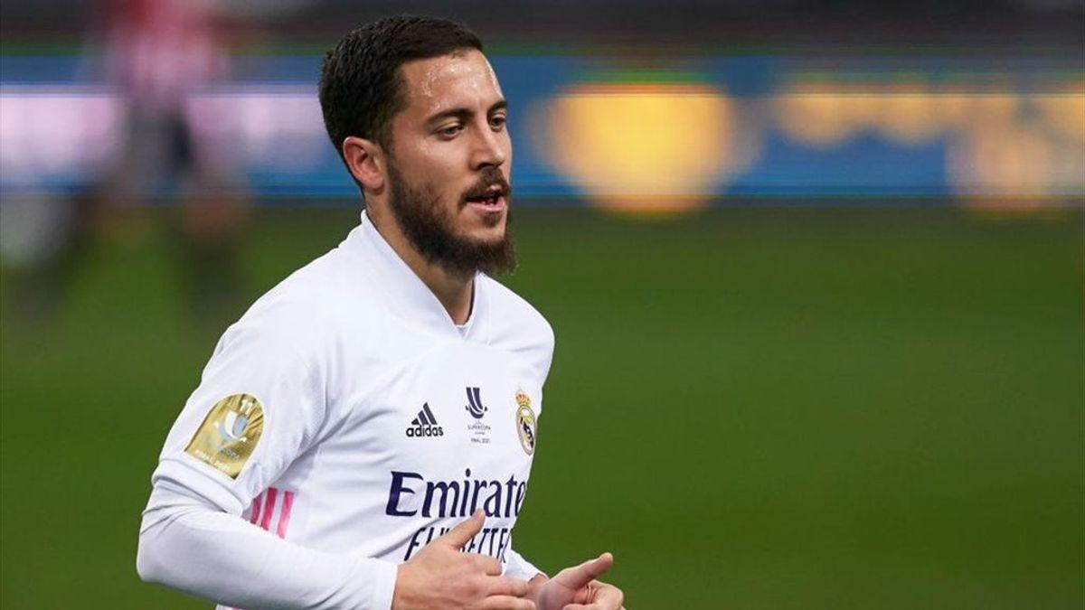 Hazard, otra vez baja: no se entrena con el Real Madrid en la previa del partido ante el Atalanta en al Champions