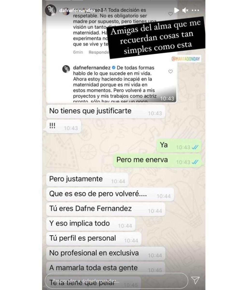 Una amiga de Dafne Fernández le recomienda no justificarse ante las críticas