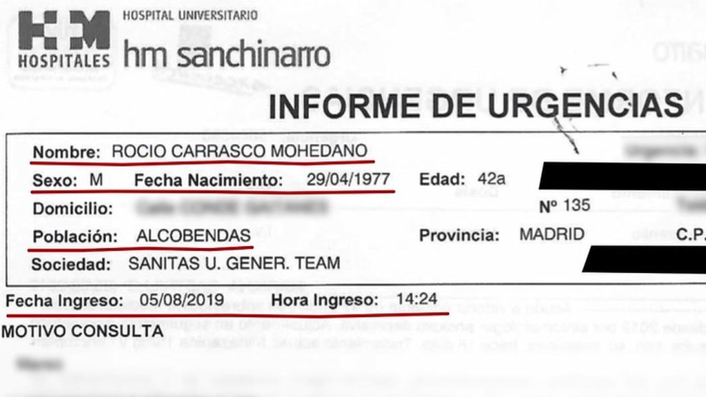 Informe de Urgencias cuando ingresó Rocío Carrasco
