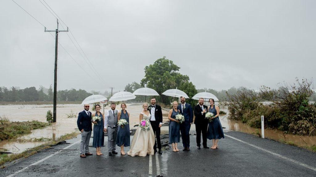 La boda en las inundaciones Australia