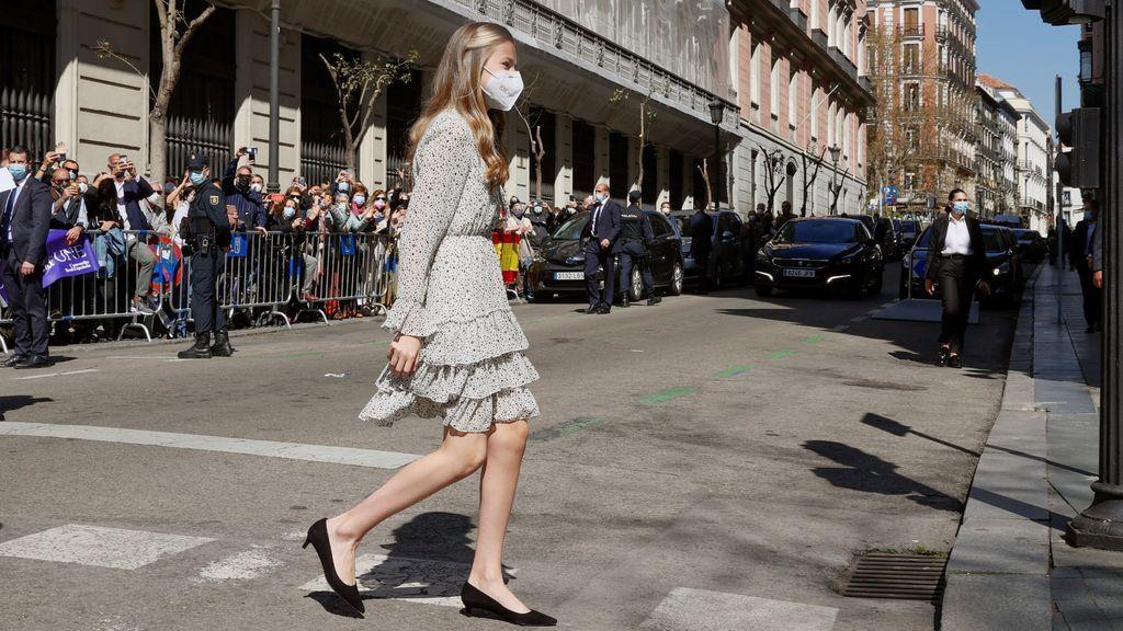 La princesa Leonor a su llegada a la sede del Instituto Cervantes