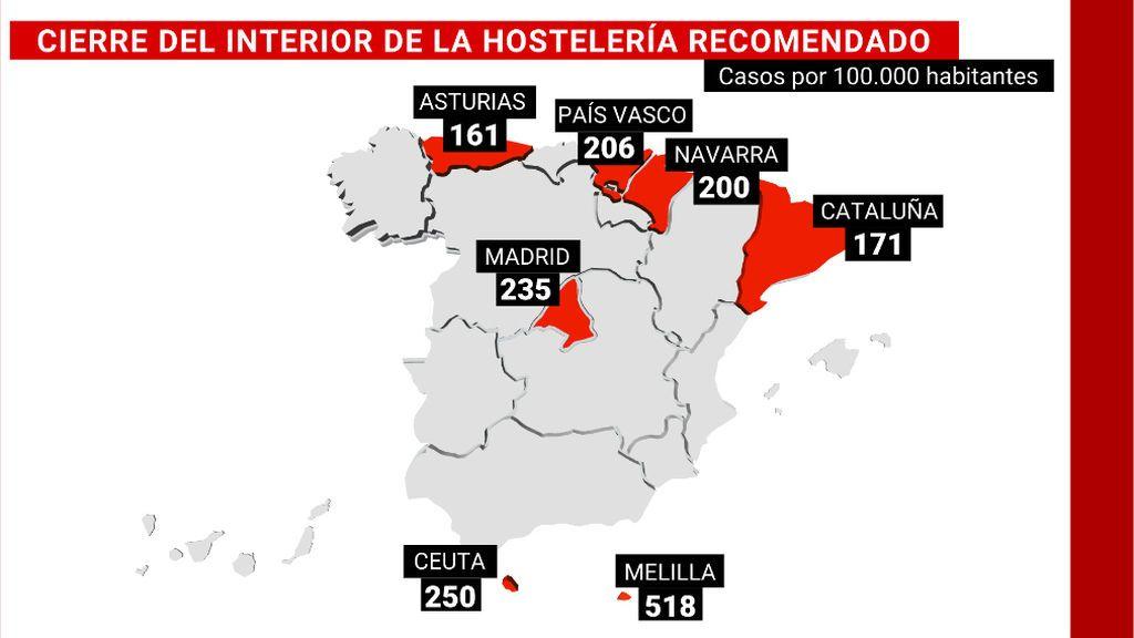 Cinco comunidades, más Ceuta y Melilla, deberían cerrar el interior de la hostelería con el nuevo semáforo de Sanidad