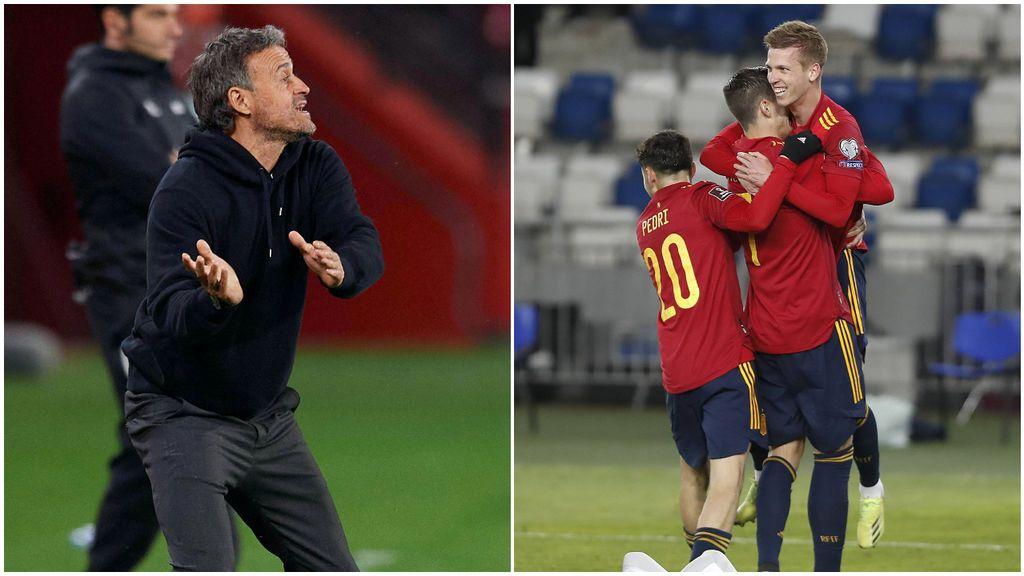 El sufrimiento de Luis Enrique en el banquillo que desembocó en euforia tras el gol de Dani Olmo