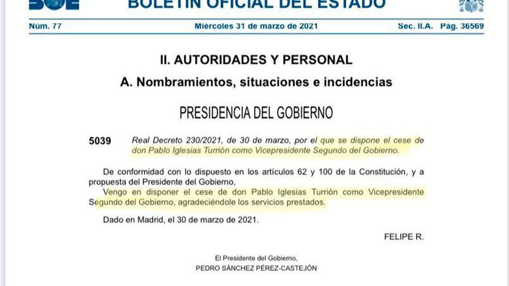 El Boe publica el cese de Pablo Iglesias