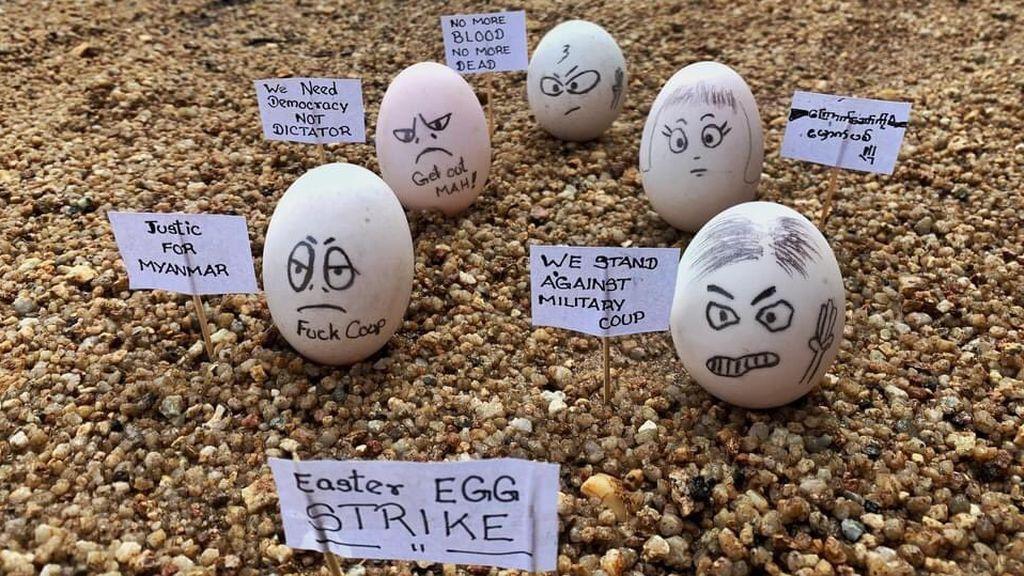 La 'huelga de los huevos de Pascua' transforma las protestas contra la junta militar birmana