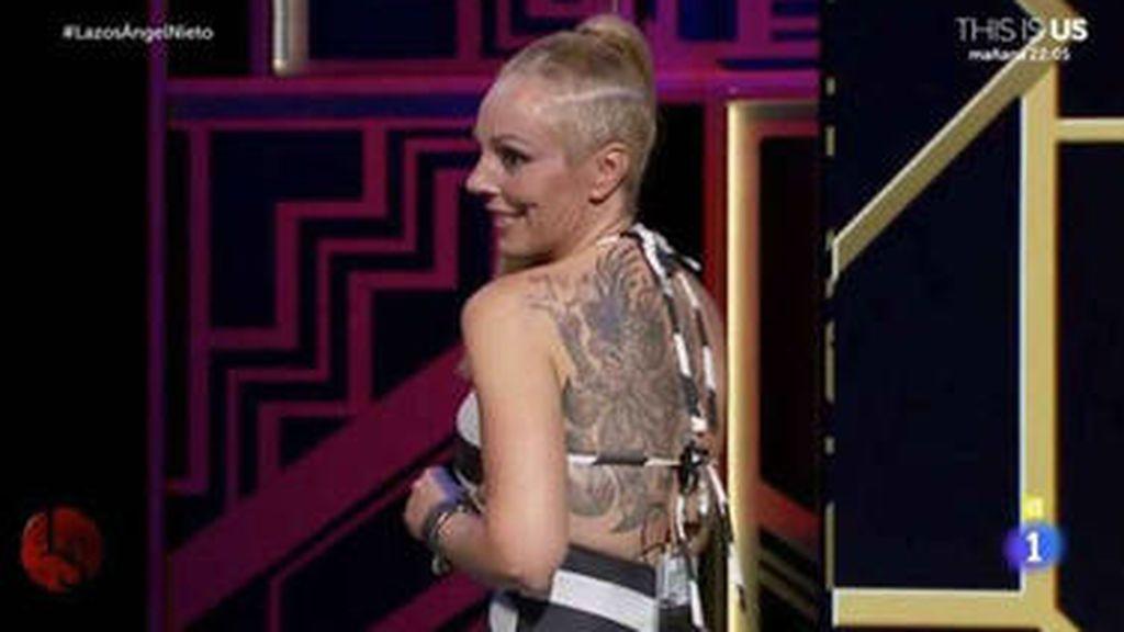 Tatuaje de Rocío Carrasco en la parte izquierda de la espalda