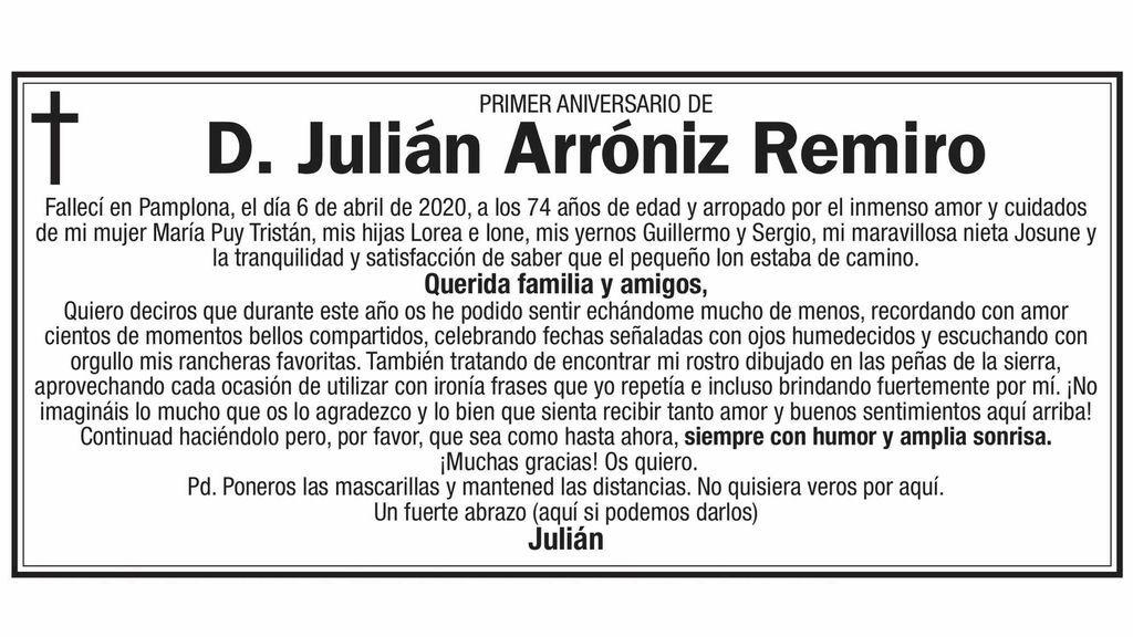Esquela de Julián Arróniz