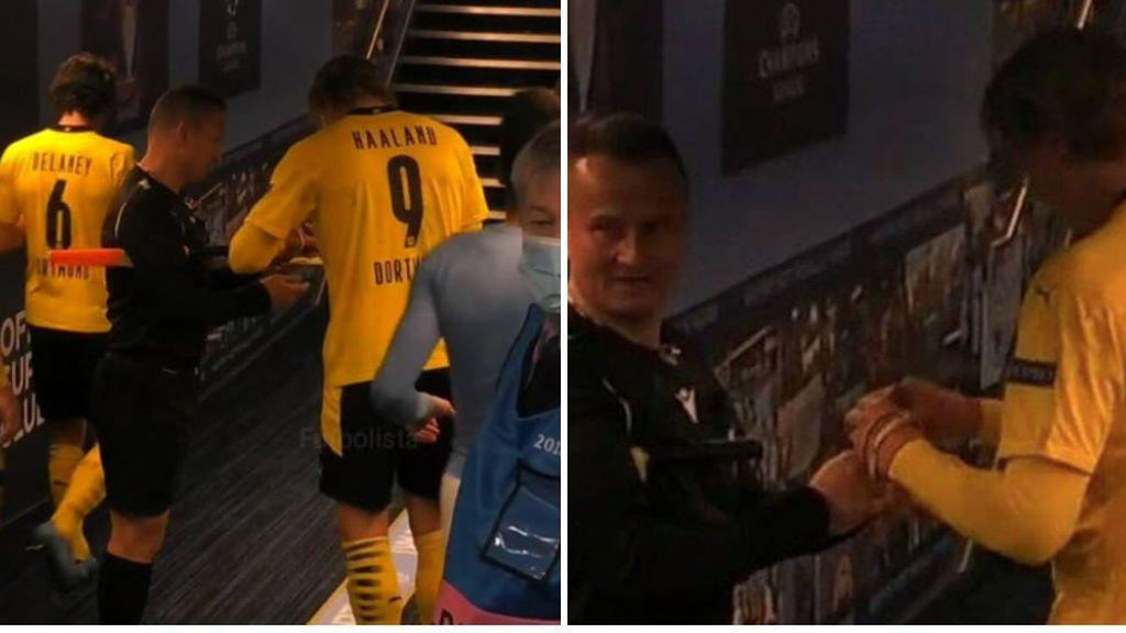 El árbitro que pidió a Haaland un autógrafo en sus tarjetas decide donarlas con fines benéficos