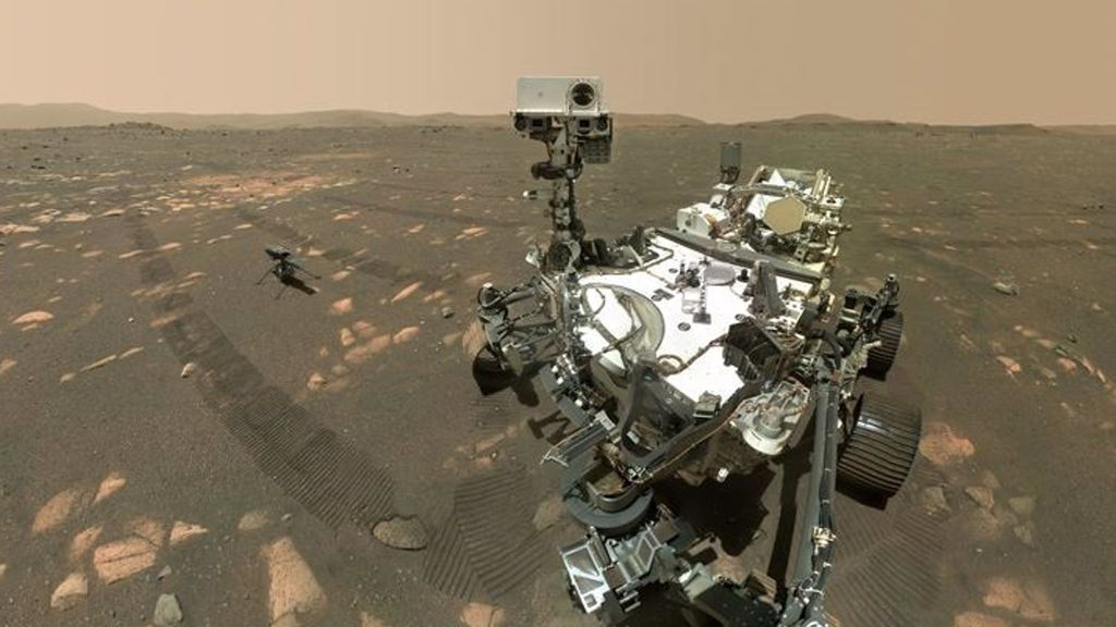 Perseverance and Ingenuity take a selfie on Mars before the helicopter's first flight on the red planet