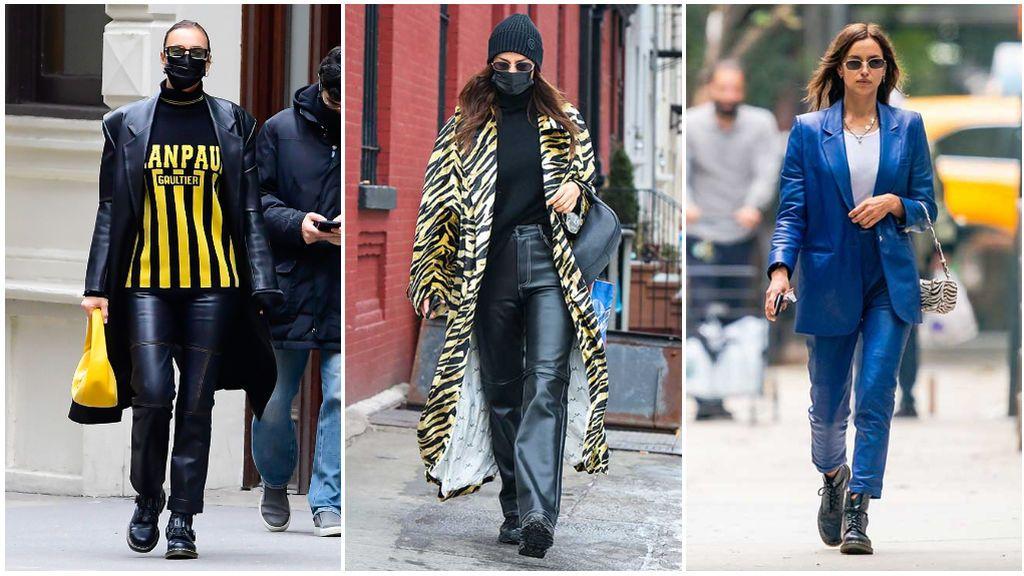 Irina Shayk también es muy fan de los pantalones de cuero.