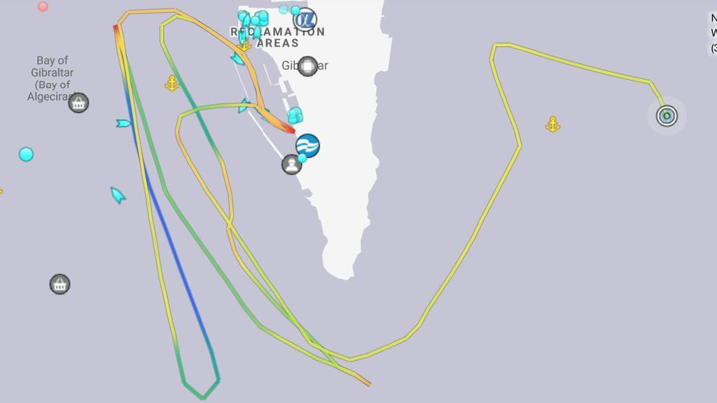 Los recorridos del `HMS Trent´ por la bahía de Algeciras