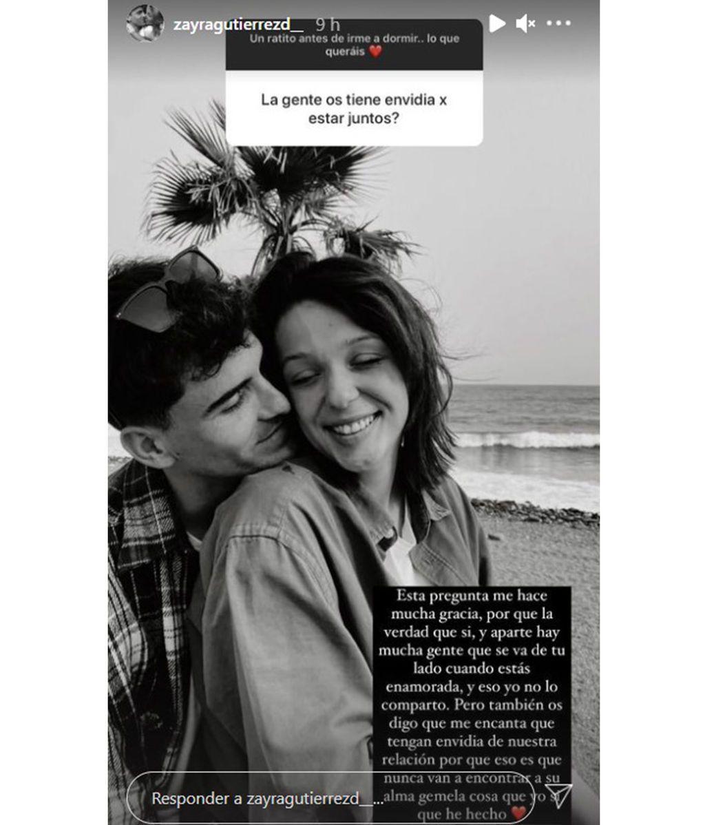 Zayra Gutiérrez afirma que la gente envidia su relación