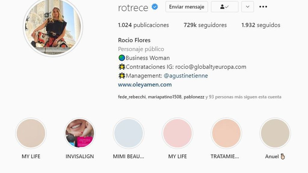 Perfil Rocío Flores Instagram
