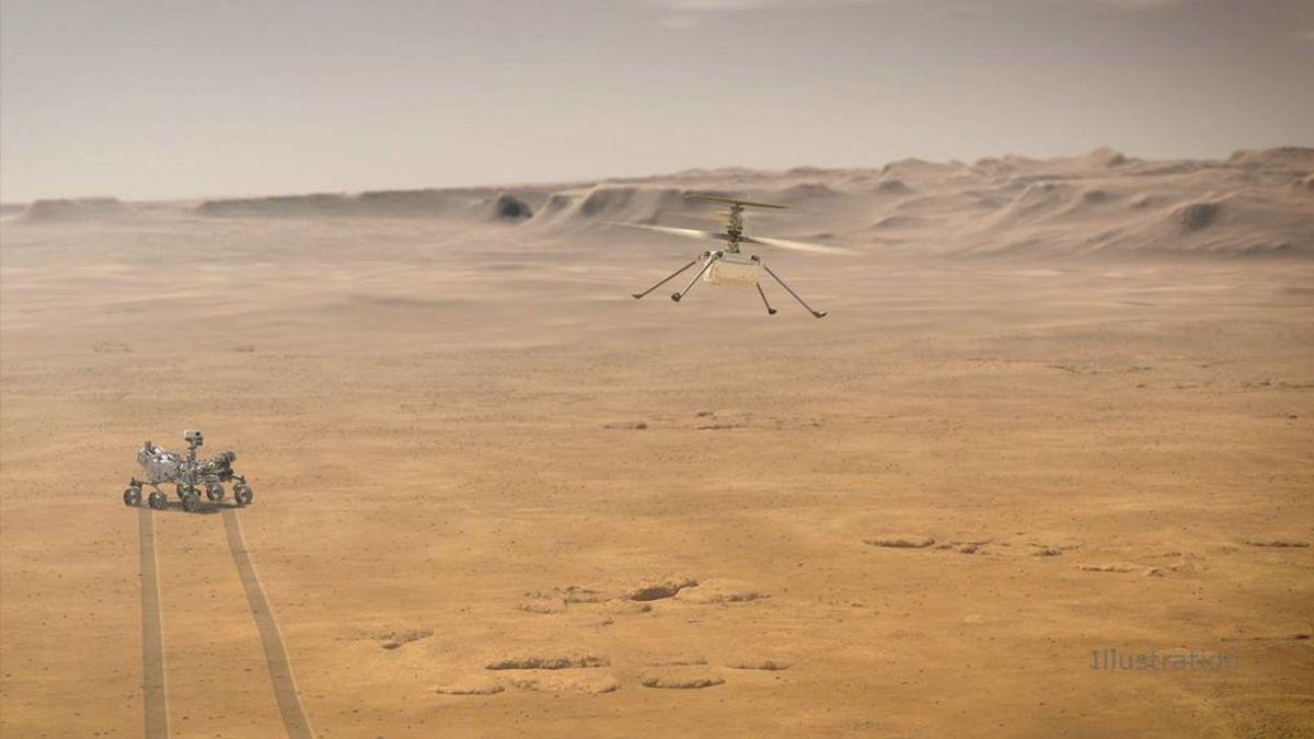 Ilustración de Ingenuity volando sobre la superficie de Marte