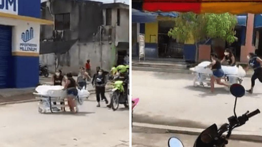 Una familia roba del hospital el cuerpo de un pariente fallecido por covid-19 y huye por las calles
