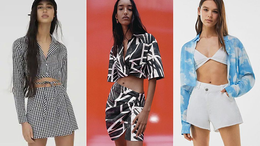 Camisas cropped de Pull & Bear, Zara y Bershka