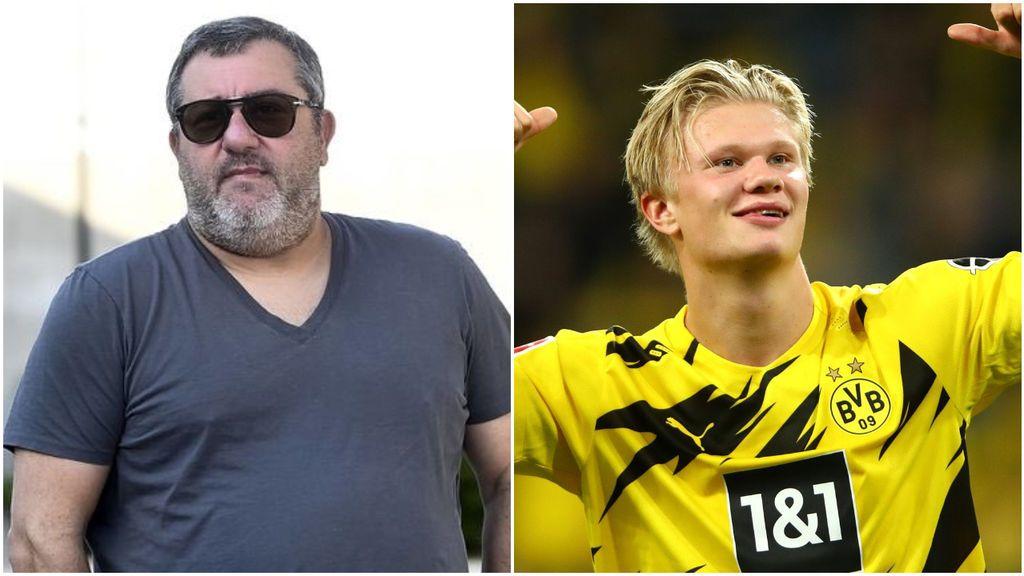 """Mino Raiola le echa un pulso al Dortmund por Haaland: """"El Borussia no quiere vender, pero eso no significa que esté de acuerdo"""""""