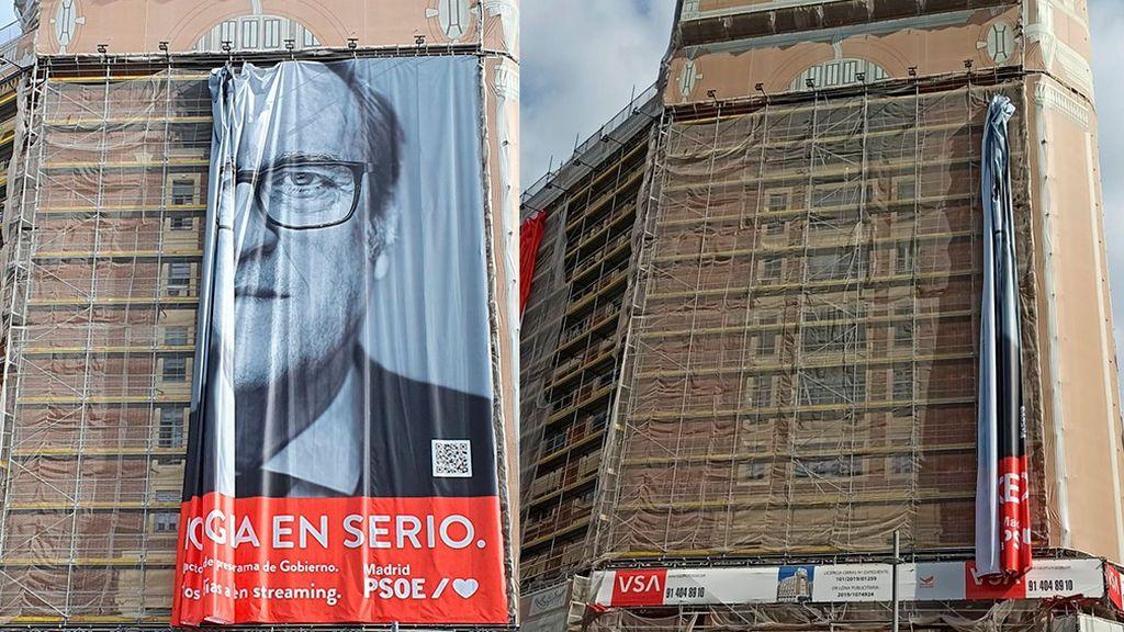 El PSOE de Madrid retira el cartel de Gabilondo en su sede la plaza de Callao tras la orden de la Junta Electoral