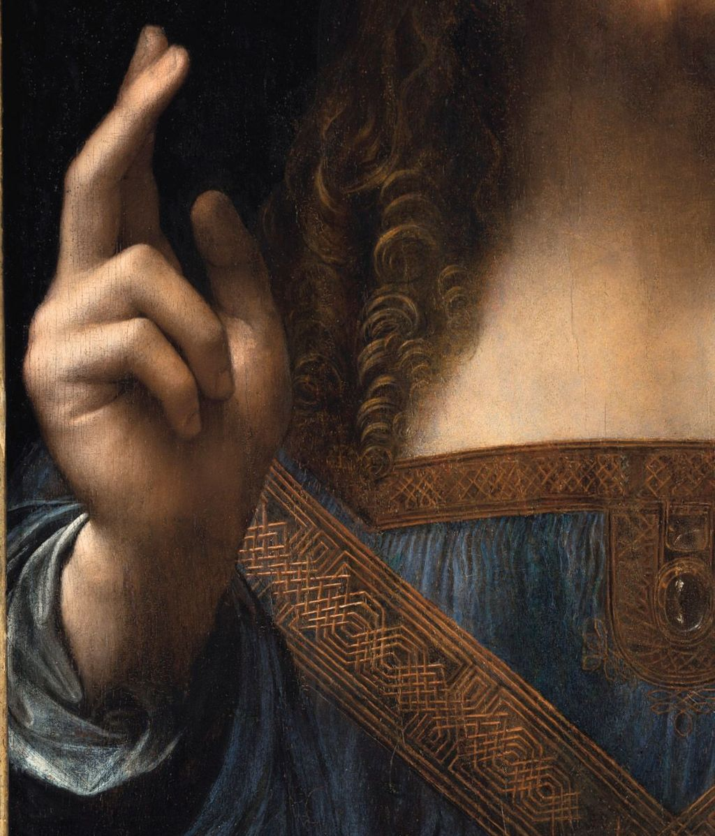 Detalles de la mano del 'Salvator Mundi'