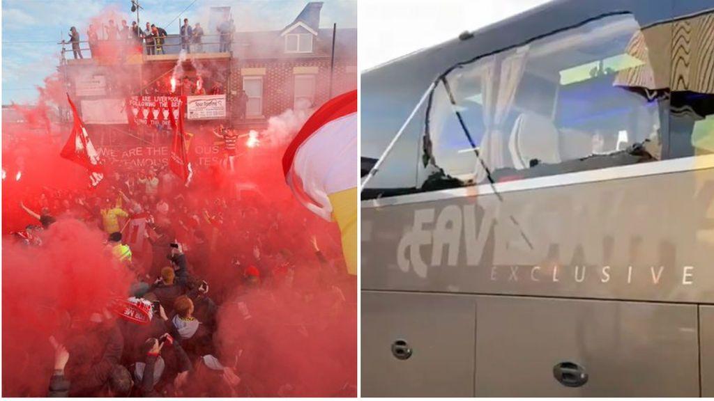 Así quedó el autobús del Real Madrid tras ser apedreado a su llegada a Anfield
