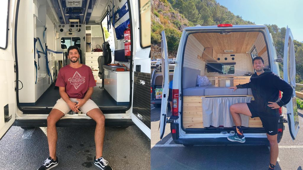Pablo González posa junto a su ambulancia, antes y después de convertirla en una Camper