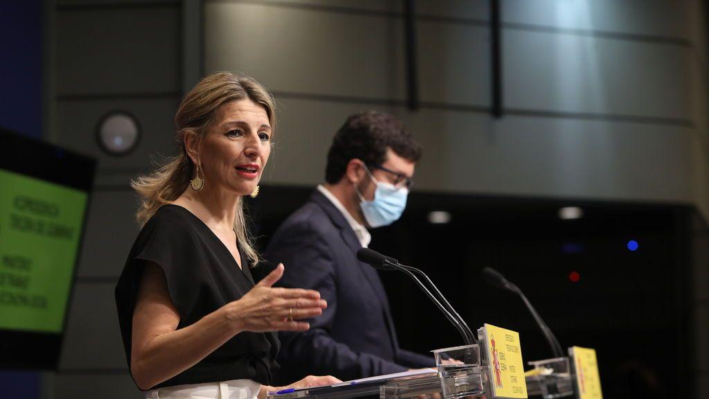 Yolanda Díaz afirma que el número de trabajadores actualmente en un ERTE baja de los 700.000