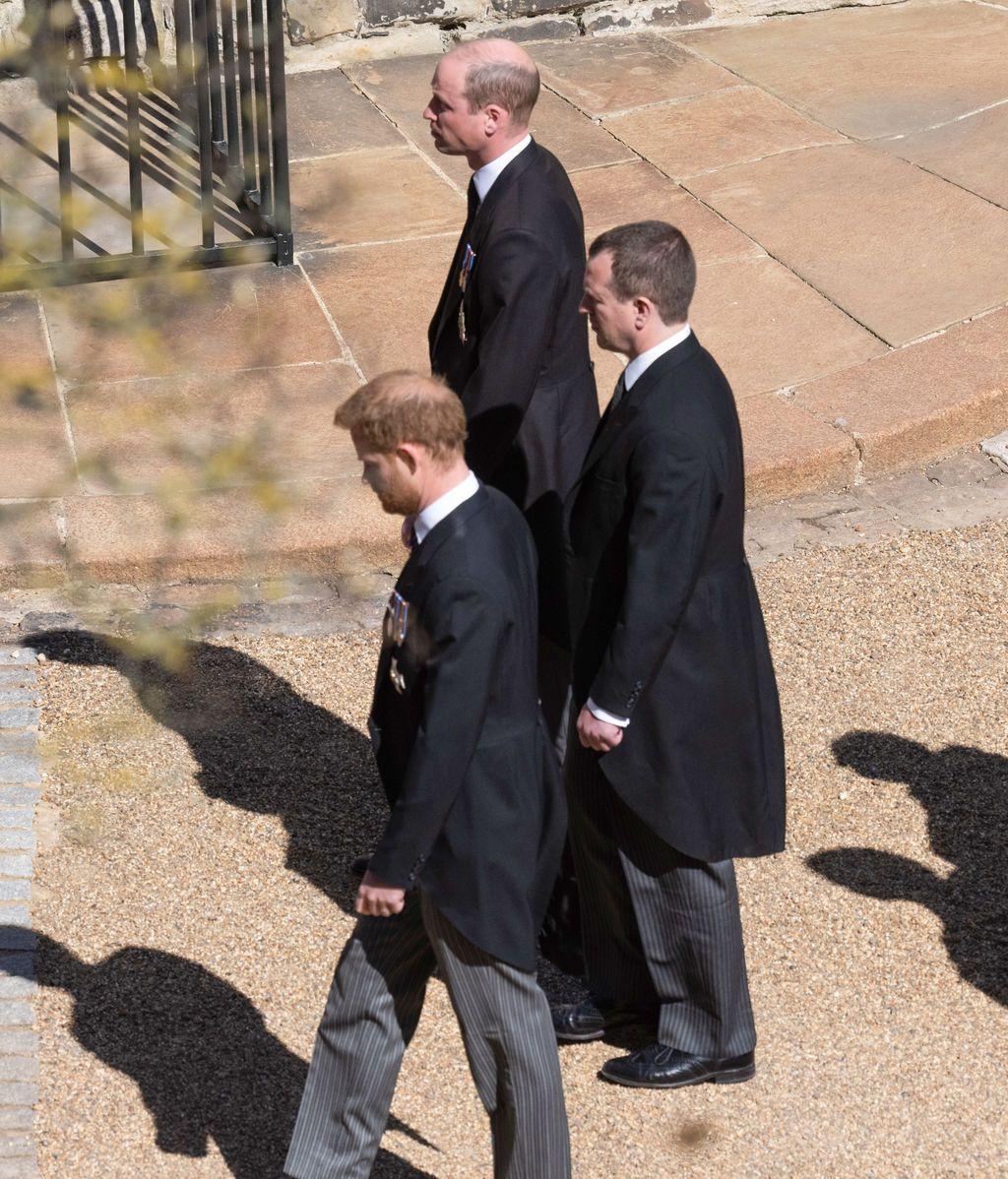 Peter, Harry y William en el funeral del duque de Edimburgo