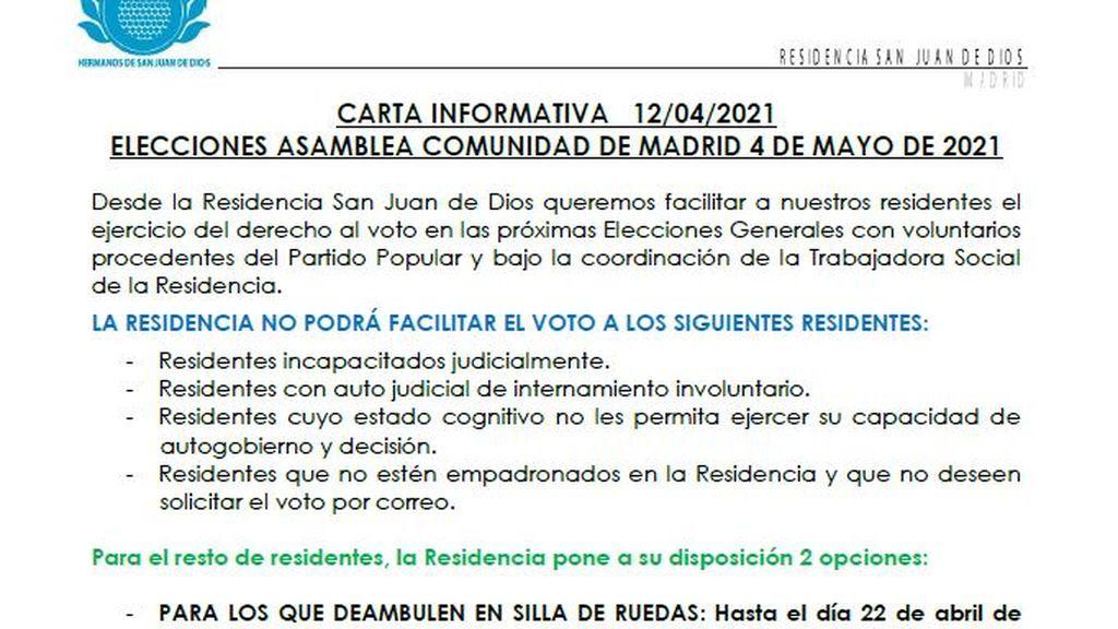 """Carta en la que se ofrece la ayuda para votar con """"voluntarios del PP"""""""