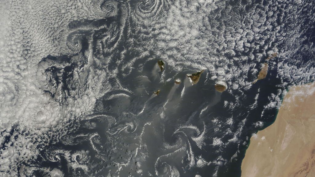 Vórtices de von Kármán: ¿cómo se forman estas nubes arremolinadas en torno a las Canarias?
