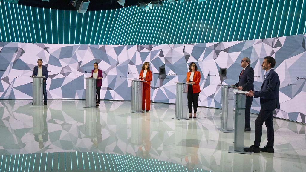 De izquierda a derecha, Iglesias, Monasterio, García, Ayuso, Gabilondo y Bal.