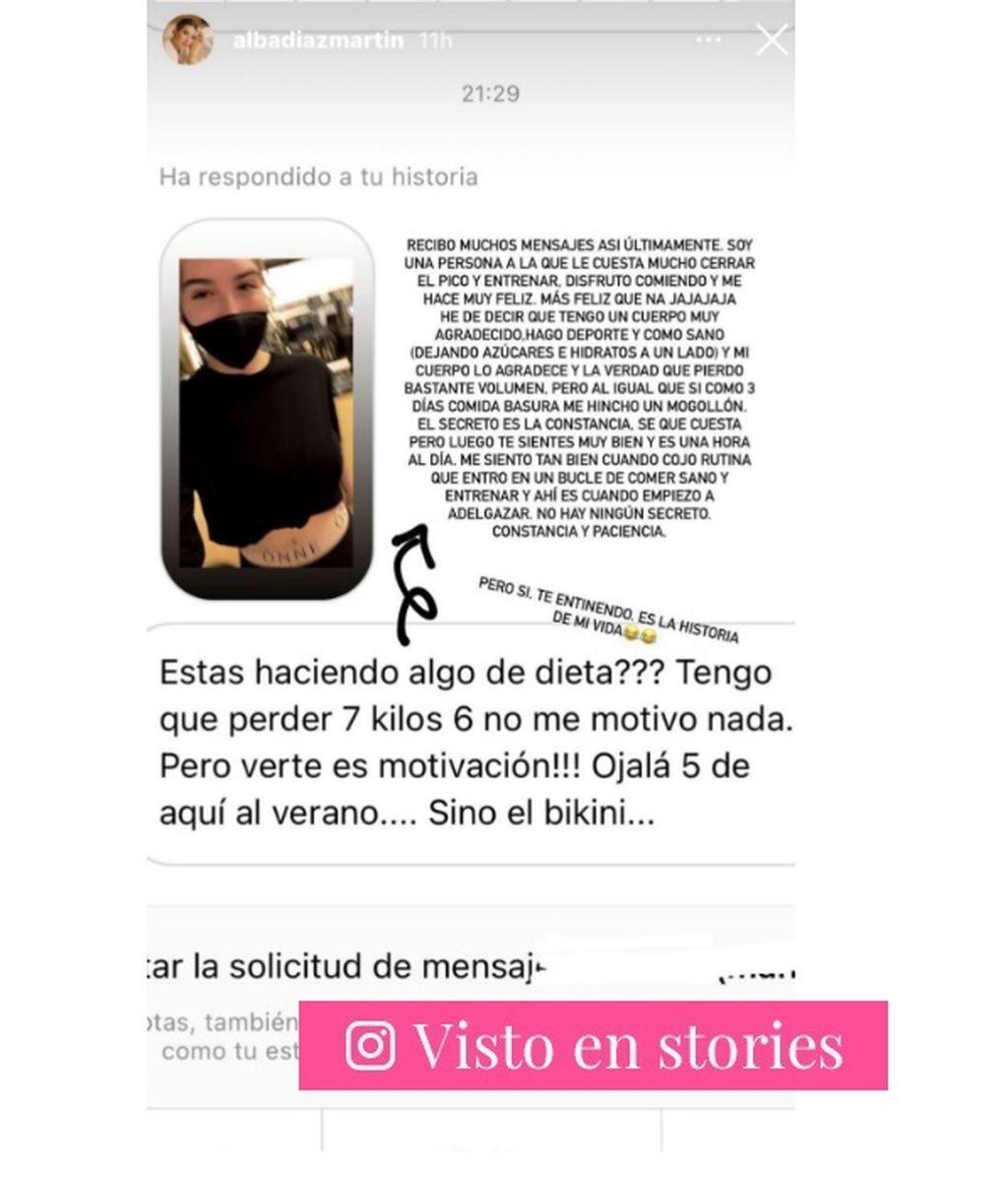 Alba Díaz explica a un seguidor cómo consigue mantenerse en forma