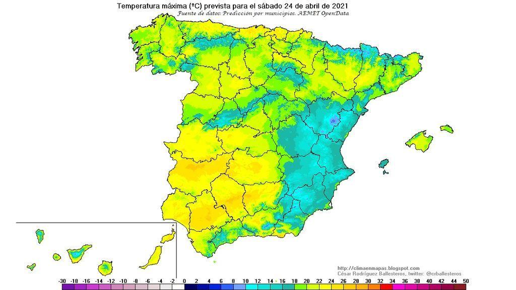 temperaturas maximas sbado