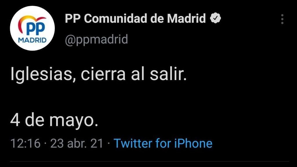 Tuit del Partido Popular