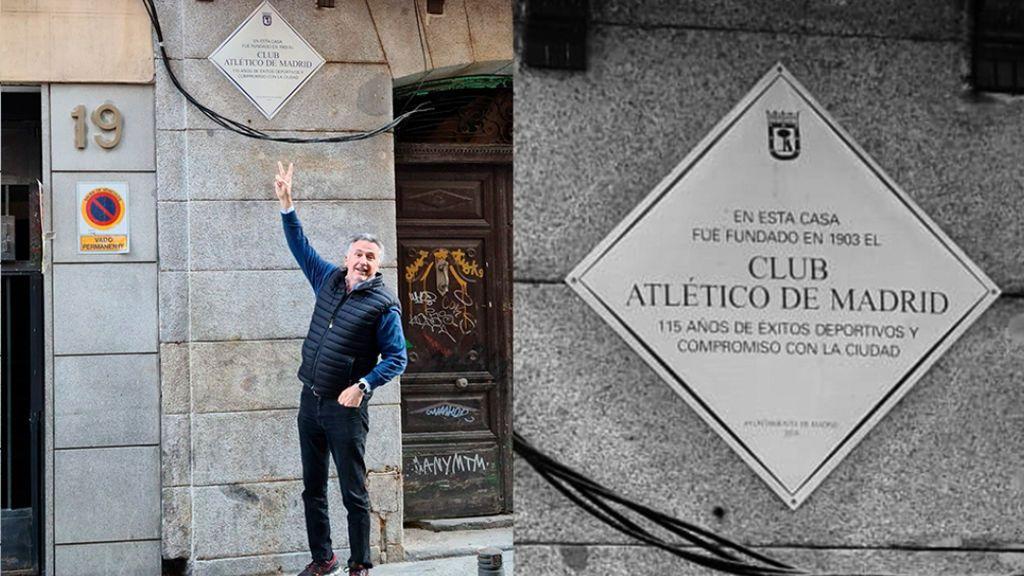 Cecilio Alonso, junto a una placa conmemorativa del Atlético de Madrid