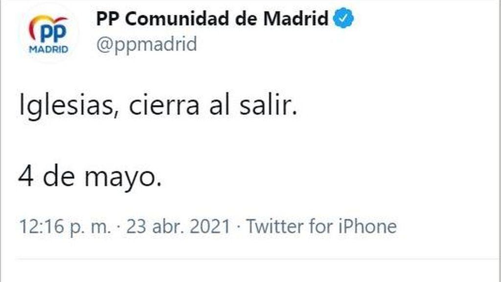 El tuit que ha retirado el PP