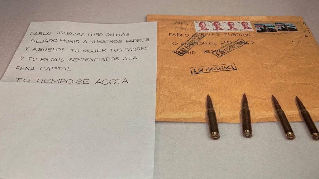 La carta con la amenaza de muerte a Pablo Iglesias